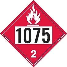 Labelmaster ZRV81075 UN 1075 Flammable Gas Hazmat Placard, Rigid Vinyl (Pack of 25)