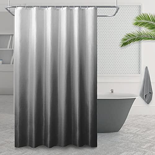 Stoff strukturierte Ombre Duschvorhang, Polyester Gradient Badvorhänge, Bad Vorhang wasserdicht mit 12 Haken, Farbdesign Maschinenwaschbar 1 Panel
