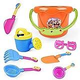 Juego de 9 piezas de juguetes para playa de arena para niños y niños, juego de pala, rastrillo para construcción de caballos de mar