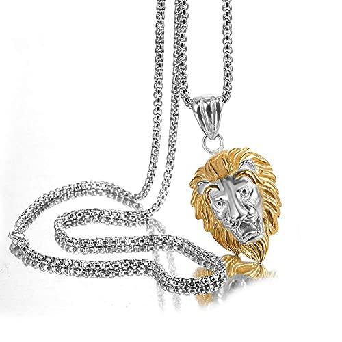 AMOZ Collar con colgante de cabeza de rey de león de acero inoxidable para hombre, hip hop, rapero, estilo punk vintage, joyería de 61 cm, cadena de moda héroe, oro y plata