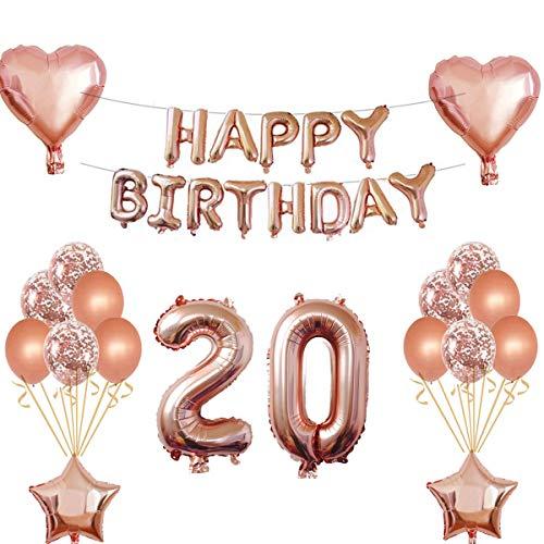 Oumezon 20 Geburtstag Mädchen Dekoration Rose Gold, 20. Geburtstag deko für Mädchen Jungen Happy Birthday Girlande Banner Folienballon Konfetti Luftballons Deko Geburtstag Party Anzahl Ballons