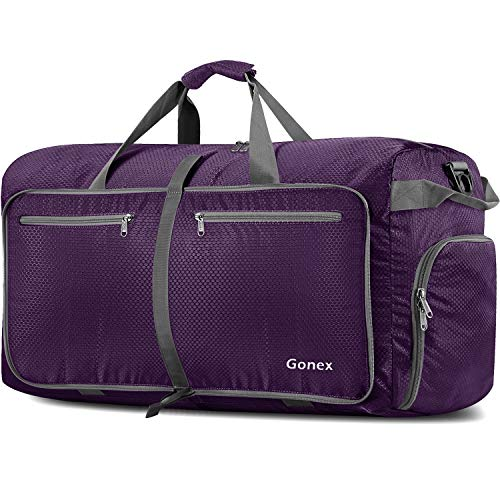 Gonex 150L Travel Duffel Bag Foldable Water Resistant Travel Bag Lightweight Duffel Bag with Big Capacity for Luggage Gym Sports Purple