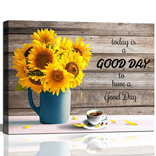 Sunflower Decor Kitchen Wall Art Inspirational Quotes Sunflower in Vase Canvas Print for Living Room Office Wall Décor Framed Coffee Canvas Wall Art Rustic Home Décor Blue Yellow