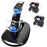 KONKY Chargeur de Contrôleur Dock Station Support Double USB de Charge Rapide avec Indicateur LED pour Manette Playstation 4 PS4 / PS4 Slim Pro Console Charging Dock Shock Stand