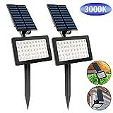 T-SUN 50 LED Luci Solari da Esterno, Wireless Lampada Solare da Giardino con 2 Livelli di ...