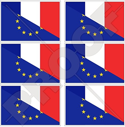 europe-france Drapeau, eu-fr européenne union-french 40 mm (40,6 cm) Téléphone Mobile Mini en vinyle autocollants, Stickers x6