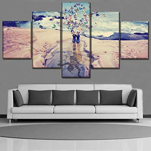 IDzf 5 Leinwandbilder Leinwand Hauptdekoration Wandkunst Drucken 5 Stücke Von Kunst Abstrakte Malerei Stiefel Und Schmetterling Kinder Manipulieren Wasser Reflexion Poster