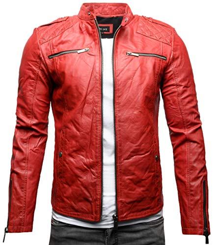 Crone Meo Herren Lederjacke Cleane Basic Echtleder Jacke (M, Heavy Washed Red (Rindsleder))