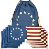 Corn Filled Cornhole Bags - Set of 8 Betsy Ross Vintage American Flag Bean Bags for Corn Hole Game - Regulation Size & Weight