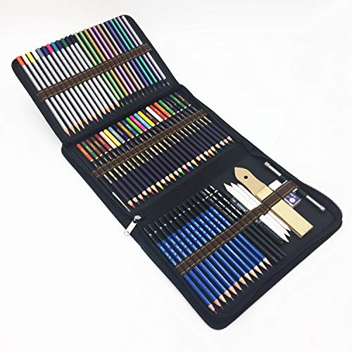 72 Piece Drawing Pencils, Colouring Pencils and Sketch Pencils Set with Drawing Tool in Pop Up...