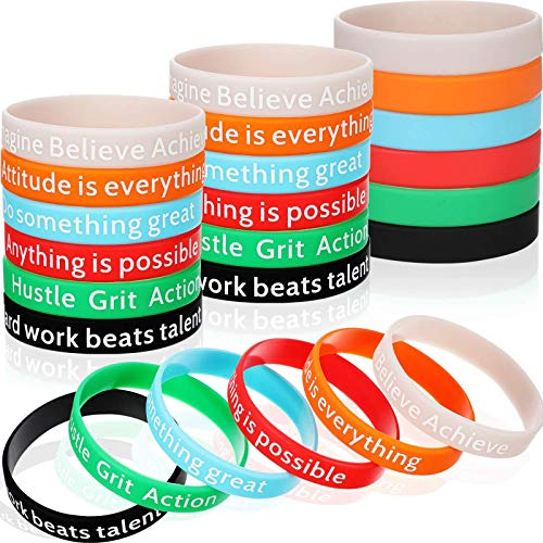 Motivational Bracelets Silicone Wristbands Inspirational Bands with Inspirational Messages for Studying Competing Working, 6 Styles (48 Pieces)