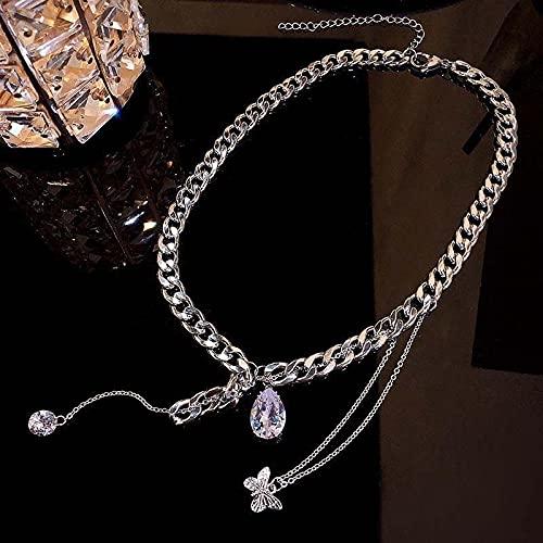 Focisa Collar Colgante Cadena Collares Hombre Mujer Collar Mujer Joyería Moda Simple Mariposa Collar De Gota De Agua con Tachuelas De Diamantes Diseño De Temperamento Collares con Sentido