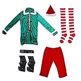 ABOOFAN Disfraces Elfo de Navidad Mujeres Adultas Hombres con Pantalones Zapatos Cinturón Chaqueta Sombrero de Navidad Fiesta Cosplay Vestir Suministros 1 Juego Verde Rojo 93X61cm