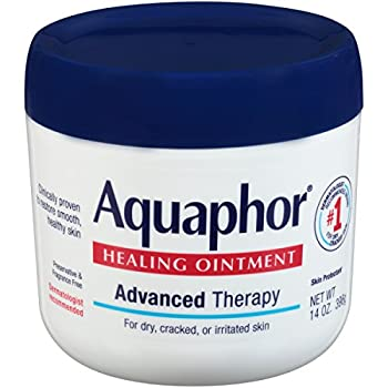 Aquaphor Healing Ointment Moisturizing Skin Protectant for Dry Cracked Hands Heels and Elbows Use After Hand Washing Oz Jar bA Fragrance Free 14 Ounce