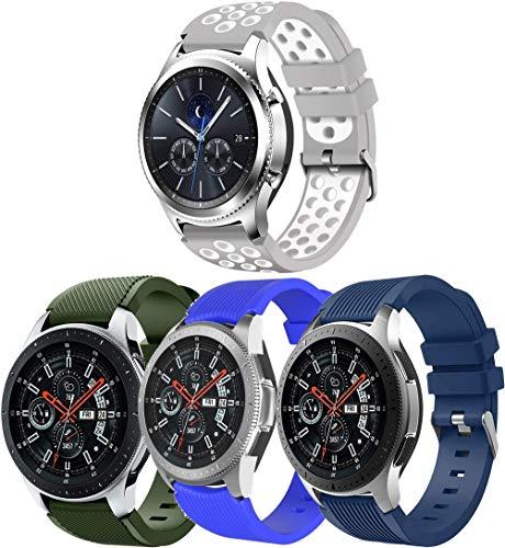 Simpleas Correa de Reloj Recambios Correa Relojes Caucho Compatible con Amazfit Pace/Stratos/GTR 47mm - Silicona Correa Reloj con Hebilla (22mm, 4PCS C)