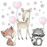 Pandawal Wandtattoo Waldtiere mit Luftballon Sterne Tiere Wandaufkleber Kinderzimmer Deko Wandbilder Baby Reh Fuchs Waschbär Rosa