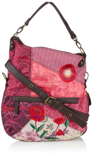 Desigual Bols Folded-Patch Rojo 3083 U, Sacoche Femme - Rouge - Rot/Rojo Fuerte,