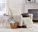 Home Fashion Designs Printed Twill Recliner Slipcover. One Piece Stretch Recliner Cover. Strapless Recliner Cover for Living Room. Brenna Collection Slipcover. (Recliner, Beige)