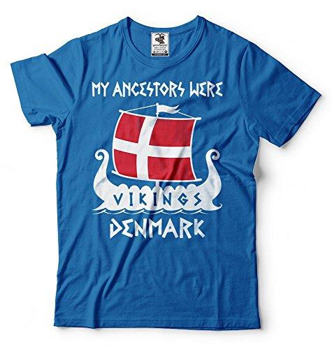 Silk Road Tees Camiseta Vikings antepasados los Hombres de Vikings Dinamarca Camiseta Small Azul