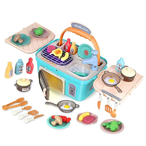 picnic items for kids D-FantiX Kids Picnic Basket Toys, Portable Picnic Kitchen Toy with Music&Light, 4 in1 Play Sink Oven BBQ Grill Cooking Toy Color Changing Foods Playset for Toddlers