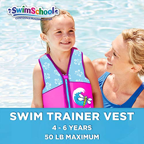 SwimSchool Swim Trainer Vest, Flex-Form, Adjustable Safety Strap, Easy On & Off, Medium/Large, up to 50 Lbs., Pink/Aqua
