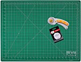 WA Portman Rotary Cutter and 18x24 Inch Self Healing Cutting Mat - Comfort Grip Rotary Cutter and Mat Set - 45mm Rotary Fabric Cutter Set with 5 Extra Blades - Rotary Cutter Set for Crafting and More