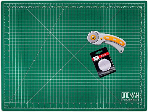 WA Portman Self Healing Cutting Mat and Rotary Cutter Sewing Kit - 18x24 Inch Cutting Mat - 45mm Rotary Fabric Cutter - 5 Extra Rotary Cutter Blades - Ideal Set for Craft Supplies