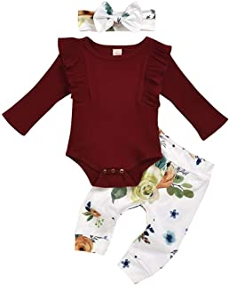 Weixinbuy Newborn Baby Girls Long Sleeve Romper Bodysuit Floral Flower Pants Clothes Set with Headband