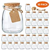 Mini Yogurt Jars 30 Pack, 7 oz Glass Favor Jars with Cork Lids, Glass Pudding...