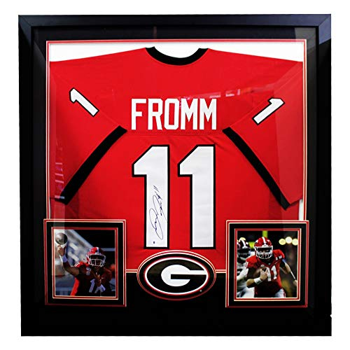 Jake Fromm Red Georgia Bulldogs Autographed Signed Deluxe Framed Jersey - Beckett Authentic