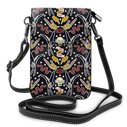 Lsjuee Cartera de cuero para teléfono, flor de serpiente de pájaro y calavera, pequeña bandolera, minibolso para teléfono móvil, bandolera para mujer