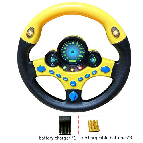 Simulated Driving Controller Portable Simulated Driving Steering Wheel Copilot Toy Children's Educational Sounding Toy Small Steering Wheel Toy Gift Funny Interactive Driving Wheel with Music Facaily