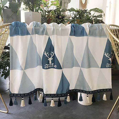 LDJ Cafe Kurzgardine Geometrische Scheibengardine, Keller Halber Vorhang mit Farb Quaste, Schabracken für Küche, Schlafzimmer, Badezimmer, Weiß Blau