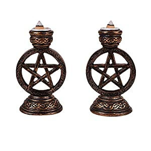 Pacific Giftware Wicca Pagan Witchcraft Pentagram Candle Incense Holder Set