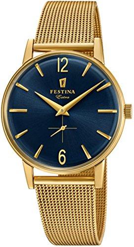 Festina Extra Reloj para Hombre Analógico de Cuarzo con Brazalete de Acero Inoxidable bañado en Oro F20253/2