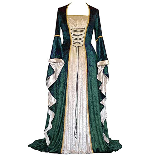 YunFeel Vestido Medieval para Mujer, Disfraz de renacentista, Vestido Retro irlandés, Cosplay sobre Vestidos Largos - Verde - S