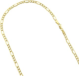 14k Yellow Gold 4.5mm Diamond Cut Alternate Figaro Lite Chain Necklace Bracelet Lobster Clasp