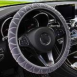 MRTIOO 3D Texture Soft Velvet Steering Wheel Cover Boho for Women and Men, Cold or Hot Universal 15 inch, Fit Suvs, Vans, sedans, Cars, Trucks (Texture Gray)