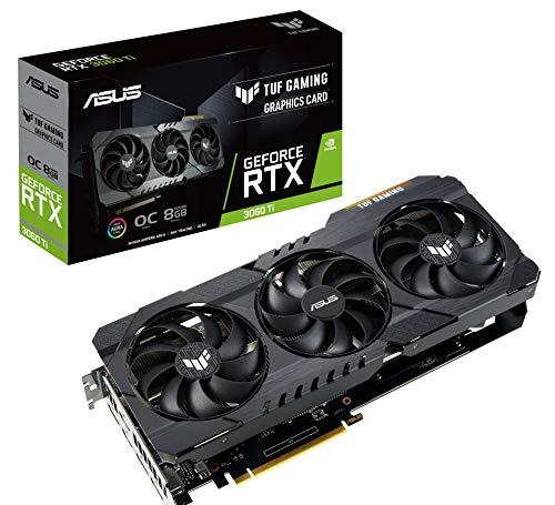 ASUS TUF Gaming NVIDIA GeForce RTX 3060 Ti OC Edition Graphics Card (PCIe 4.0, 8GB GDDR6, HDMI 2.1 , DisplayPort 1.4a, Dual Ball Fan Bearings, Military-Grade Certification, GPU Tweak II), Black