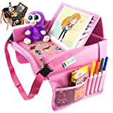Kids Travel Tray for Toddler Car Seat   Toddler Car Seat Tray Organizer   Large Ipad Holder A Road Trip Essential   Soft Padding, Waterproof, Food & Snack Lap Tray Carseat, Stroller, and High Chair