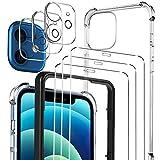 Luibor [7 in 1] Cristal Templado Compatible con iPhone 12 mini+ Funda + cámara Protector de Pantalla,[9H Dureza] [Compatible con la Funda] [Equipado con Soporte de Montaje más Seguro]