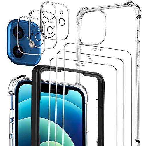 Luibor [7 in 1] Panzerglas kompatibel mit iPhone 12 Mini,Hülle und Kamera Panzerglas,Soft TPU Bumper Hülle,Unterstützt Blitzaufnahmen,9H Härte, HD Klar Display,5.4 Zoll