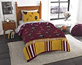 HNU NBA Cleveland Cavaliers Twin Comforter Set,Yellow Maroon Bedding Set,Cool Modern Print Boys Sports Fan Frenzy Contemporary All Over Printed Fancy Cozy Basketball Ohio Reversible Machine Washable