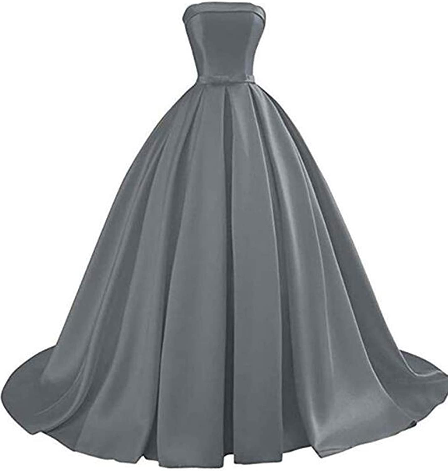 Alilith.Z Sexy Strapless Satin Prom Dresses Ball Gown Formal Evening Dresses Party Gowns for Women with Bowknot Belt
