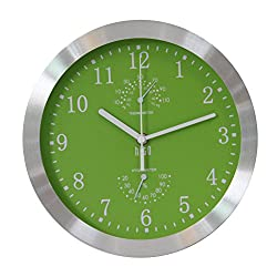 hito Modern Silent Wall Clock Non Ticking 10 inch Excellent Accurate Sweep Movement Silver Aluminum Frame Glass Cover, Decorative for Kitchen, Living Room, Bedroom, Bathroom, Bedroom, Office (Green)