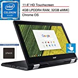 2020 Acer Chromebook Spin 11 2-in-1 11.6' Touchscreen Laptop Computer, Intel Celeron N3350 up to 2.4GHz, 4GB LPDDR4 RAM, 32GB eMMC, 802.11AC WiFi, Type-C, Black, Chrome OS, Spmor Mouse Pad (Renewed)