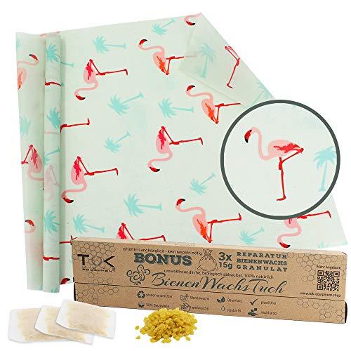 TOK® Bienenwachstuch XL Rolle, Natur Bienenwachs Rolle, wiederverwendbar, waschbar - Beeswax Wrap, Wachspapier inkl. 3 x 15g Reparaturwachs & Schnittmuster (Flamingo)