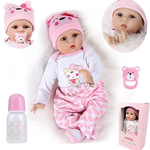 ZIYIUI Realista Muñeca bebe Reborn Muñecos bebé Niña Vinilo suave Silicona Reborn Baby Dolls 22 Pulgadas Niños Juguete
