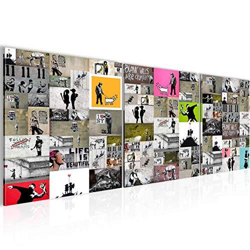 Bilder Collage Banksy 3 Teilig Bild auf Vlies Leinwand Deko Wohnzimmer 90 x 30 cm Street Art Bunt 302734a