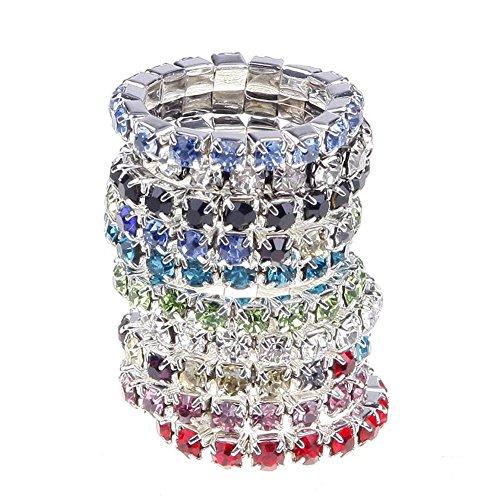 Ownsig 10X Fashion Elastic Jewelry Women multi-color Rhinestone Rings Set